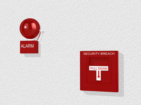 breach: Red security breach alarm switch with pull down lever and a siren attached to a white wall 3D illustration Stock Photo
