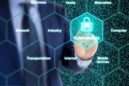 Security expert presses glowing padlock in a hexagon grid cyber security concept illustration