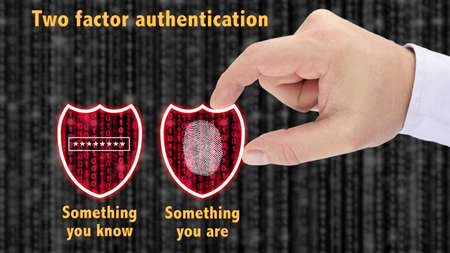 Hand putting together two security shields revealing red datastreams showing the phrase something you know and are password and fingerprint two factor authentication concept