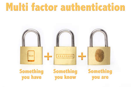 Multi factor authentication concept with three padlocks isolated on white and the phrase something you know , have are and a mobile , password and fingerprint icon Archivio Fotografico