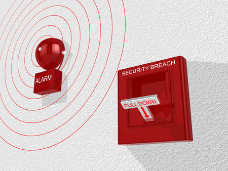 lever: Red security breach alarm switch with pull down lever activated and a siren attached to a white wall emitting an alarm sound 3D illustration