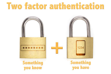 authentication: Two factor authentication concept with two padlocks isolated on white and the phrase something you know and have and a mobile plus password icon