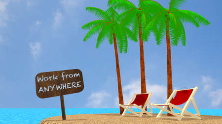 retire: Small round tropical island with three palm trees two summer chairs and a sign saying work anywhere in a blue ocean on a sunny day 3D illustration