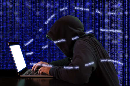 private information: Hacker extracts private information from a notebook in front of a digital background cybersecurity concept