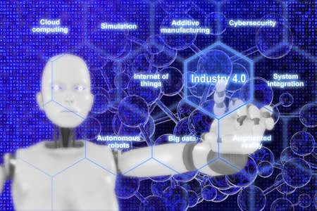 explanation: Concept 3D illustration infographic hexagon grid explanation of main components with hand of a female robot pointing to a the word Industry 4.0 Stock Photo
