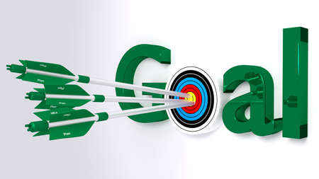 The word goal where the o is a target hit by three green arrows textured with plan achievement concept 3D illustration Stock Photo