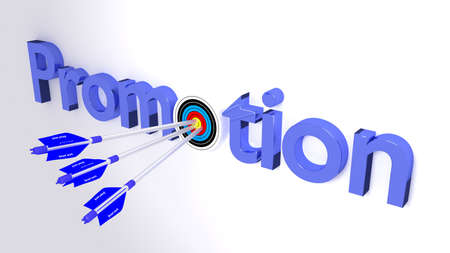 smart goals: The word promotion where the o is a target hit by three blue arrows textured with smart work career concept 3D illustration