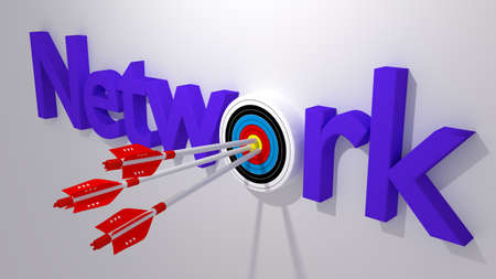 replaced: Three white arrows with a virus bug texture hitting the word network where the letter o is replaced by a circular target 3D illustration cybersecurity concept
