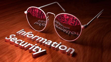 Brown table with closeup of sunglasses reflecting a screen with red digital matrix streams cybersecurity concept 3D illustration