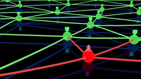 hacked: Secure network with several green spheres and shields as protected nodes and one red hacked connection 3D illustration cybersecurity concept