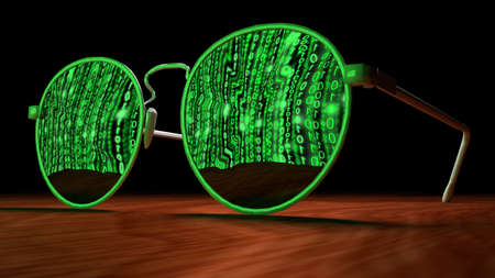 backdoor: Brown table with closeup of sunglasses reflecting a screen with green digital matrix streams cybersecurity concept 3D illustration