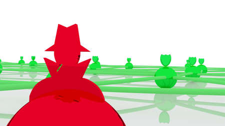 compromised: Secure network with several green spheres and shields as protected nodes and one red hacked connection 3D illustration cybersecurity concept close up Stock Photo