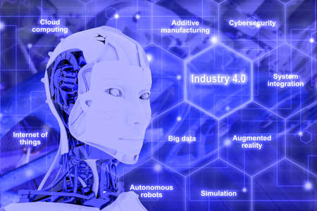 Concept 3D illustration infographic hexagon grid explanation of main components with head of a female robot looking at the word Industry 4.0