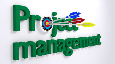 requirement: The word project management where the o is a target hit by three arrows textured with the words cost time and scope from the pm triangle business  concept 3D illustration