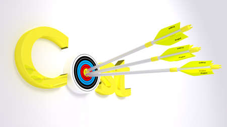 The word cost where the o is a target hit by three yellow arrows textured with project  concept 3D illustration