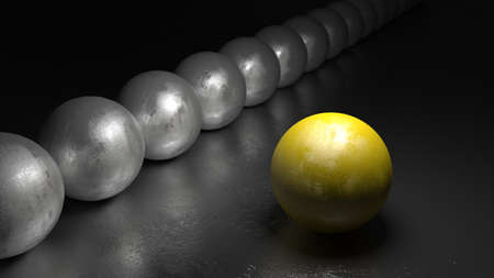 chosen one: One yellow ball with stone texture standing apart from a row of grey spheres on a black rock surface 3D illustration Stock Photo