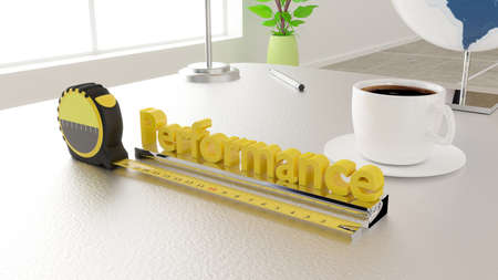 Tape placed next to the word performance measure performance concept 3D illustration in an office environment Stock Photo