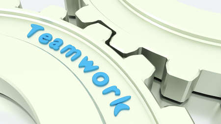 shiny floor: Two connected gears in silver on a shiny floor with the word teamwork engraved 3D illustration