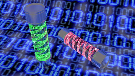 Two glass virus containers with red and green glowing digital code placed on a blue binary background 3D illustration cybersecurity concept