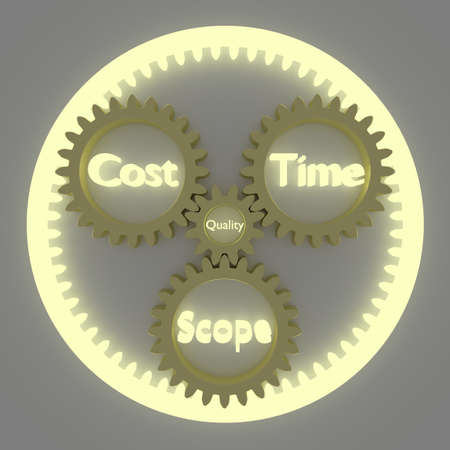 planetary: Project management 3D concept illustration with a planetary gears system representing time cost and scope placed around the quality center