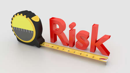 Tape placed next to the red word risk measure concept 3D illustration on white Stock Photo