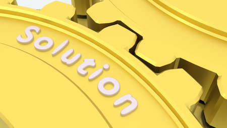 Two connected gears in gold on a silver floor with the word solution engraved 3D illustration Stock Photo