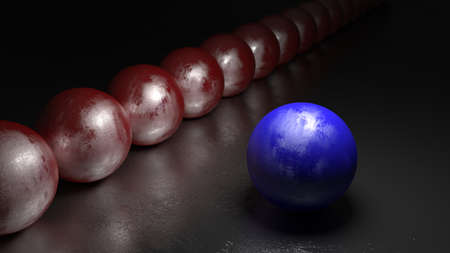 the chosen one: One blue ball with stone texture standing apart from a row of red spheres on a black rock surface 3D illustration