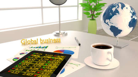 ticker: Global business concept with an office desk, charts, a tablet with stock ticker 3D illustration Stock Photo