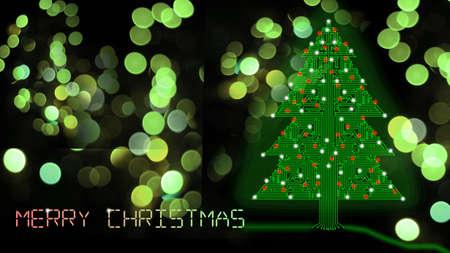 leds: Árboles de Navidad de circuitos con led que brilla intensamente en el fondo del bokeh