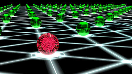 compromised: Glowing hexagon network with green glass nodes and one sphere filled with a red virus cybersecurity concept 3D illustration