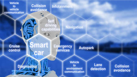 robot head: Hexagon grid with connected smart car features on a blue street background with a female robot head 3D illustration