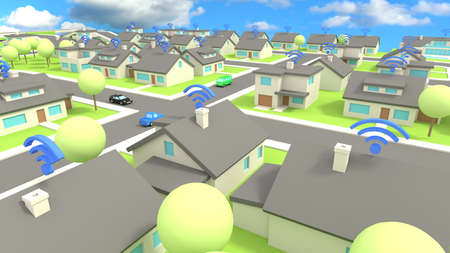 wireless communication: Low poly city scene with several houses all connected to wireless networks communication concept 3D illustration Stock Photo