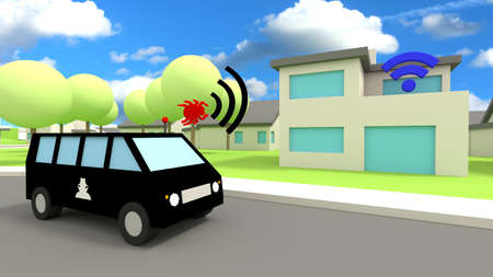 Black van with a hacker symbol driving by a home with an insecure wifi sending out a signal to infiltrate the network 3D illustration