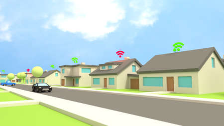 row of houses: Row of low poly houses in a street with wifi symbols on the roof in red for insecure and green for protected networks cybersecurity concept 3D illustration