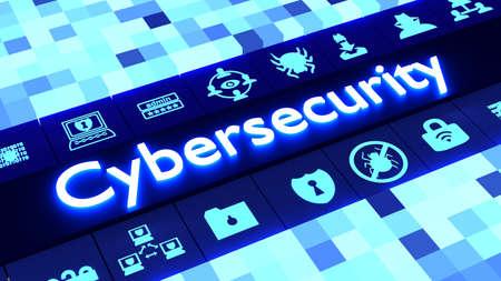 異なったサイズおよび単語サイバー セキュリティの 3 D 図を囲む白熱の情報セキュリティ アイコンの行に合わせて青の色の立方体の背景