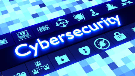 Cubed achtergrond in verschillende maten en blauwe kleuren afstemmen op een rij van gloeiende informatiebeveiliging iconen rond het woord cybersecurity 3D illustratie Stockfoto - 64657552