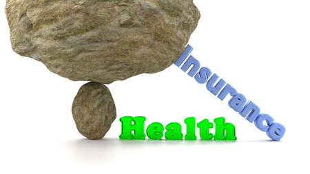 health threat: Huge rock on top of a small stone ready to crush the word health in green glass supported by the word insurance to prevent a collapse 3D illustration