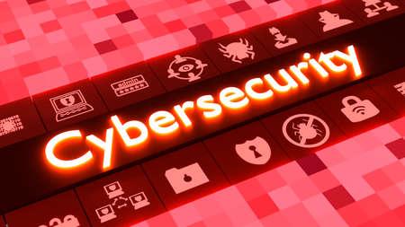 Cubed achtergrond in verschillende maten en rode kleuren afstemmen op een rij van gloeiende informatiebeveiliging iconen rond het woord cybersecurity 3D illustratie Stockfoto