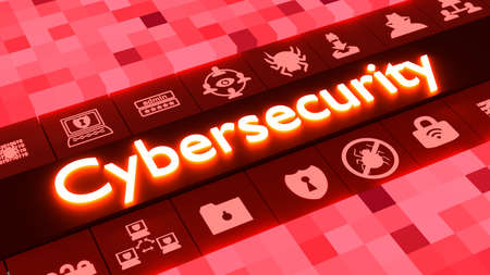Cubed background in different sizes and red colors aligning to a row of glowing information security icons surrounding the word cybersecurity 3D illustration