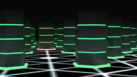 high speed internet: Dark server room with glowing hexagon supercomputers on a network floor and one hacked node cybersecurity 3D illustration