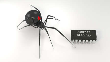 Black hairy spider with a hacker symbol approaching a microchip with the words internet of things cybersecurity iot 3D illustration