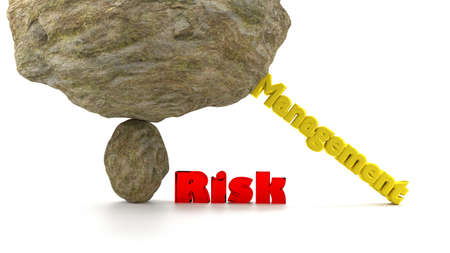collapse: Huge rock on top of a small stone ready to crush the word risk in red supported by the word management to prevent a collapse 3D illustration