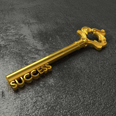 black stone: Golden vintage key with the word success on a rough black stone table 3D illustration