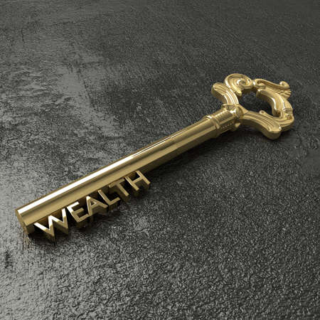 black stone: Golden vintage key with the word wealth on a rough black stone table 3D illustration