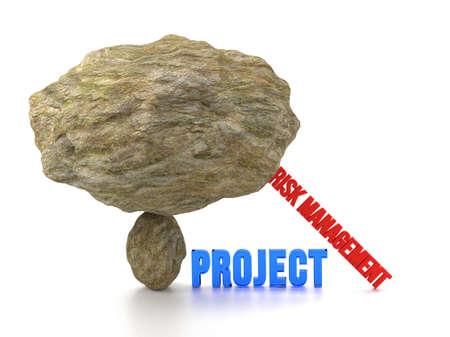 derrumbe: Enorme roca en la parte superior de una pequeña piedra listo para aplastar a la palabra proyecto en azul con el apoyo de la gestión de riesgos palabras para evitar un colapso de la ilustración 3D