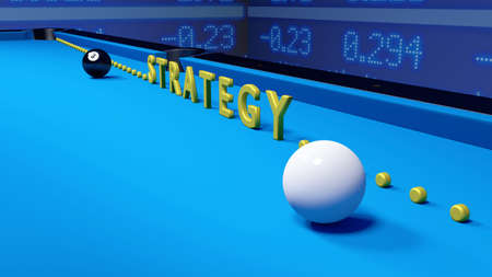 ticker: White and black billiard ball on blue velvet and the word strategy in yellow standing upright leading to the corner pocket business strategy concept 3D illustration