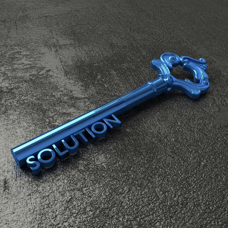black stone: Blue vintage key with the word solution on a rough black stone table 3D illustration