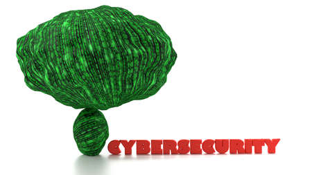 Huge rock with digital green texture on top of a small stone ready to crush the word cybersecurity in red big data concept 3D illustration