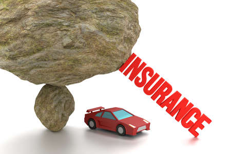 red sports car: Huge rock on top of a small stone ready to crush a red sports car supported by the words insurance to prevent a collapse 3D illustration
