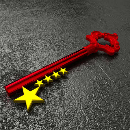 black stone: Red vintage key to china with golden star symbols on a rough black stone table 3D illustration Stock Photo